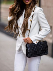 White Button Turndown Collar Long Sleeve Elegant Blazer