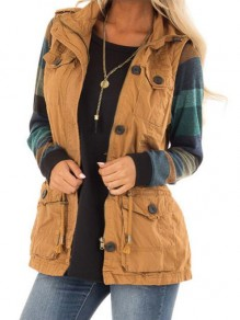 Brown Pockets Single Breasted Turndown Collar Countryside Cargo Distressed Vest Coat