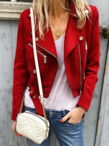 Red Pockets Zipper Belt Turndown Collar Long Sleeve Fashion Suede Jacket