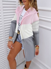 Pink Bodycon Comfy Hit Color Long Sleeve Going out Outerwears