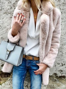 Pink Faux Fur Turndown Collar Long Sleeve Fashion Oversize Coat
