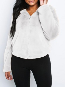 White Faux Fur Zipper Hooded Long Sleeve Fluffy Cute Jacket Outerwear