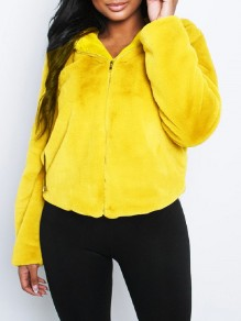 Yellow Faux Fur Zipper Hooded Long Sleeve Fluffy Cute Jacket Outerwear