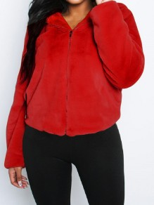 Red Faux Fur Zipper Hooded Long Sleeve Fluffy Cute Jacket Outerwear
