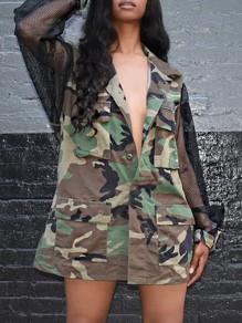 Camouflage Print Patchwork Mesh Fishnet Pockets Turndown Collar Long Sleeve Outerwear