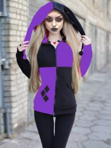 Black-Purple Patchwork Pockets Harley Quinn Cosplay Cardigan Casual Hooded Witchcraft Sweatshirt Outerwear