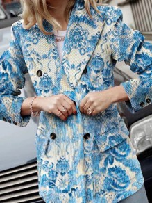 Blue Floral Button Pocket Turndown Collar Long Sleeve Elegant Blazer