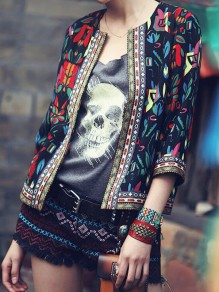 Black Floral Tribal Print Three Quarter Length Sleeve Fashion Coat