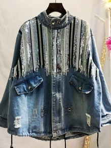 Light Blue Sequin Round Neck Long Sleeve Fashion Denim Outerwear