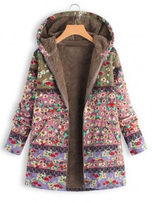 Pink Floral Pocket Hooded Pocket Long Sleeve Fashion Coat