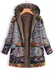Blue Floral Pocket Hooded Pocket Long Sleeve Fashion Coat