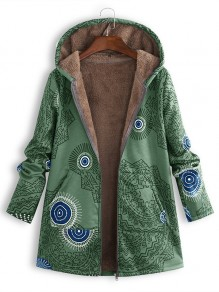 Green Floral Pocket Hooded Pocket Long Sleeve Fashion Coat