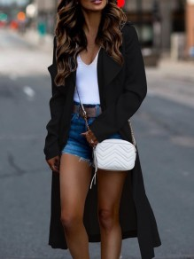 Black Turndown Collar Long Sleeve Fashion Oversize Trench Coat
