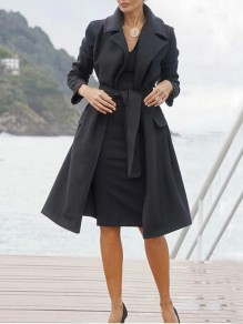 Black Sashes Pockets Turndown Collar Long Sleeve Elegant Wool Coat