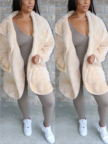 White Pockets Hooded Long Sleeve Faux Fur Fluffy Jacket Thick Coat Outerwear