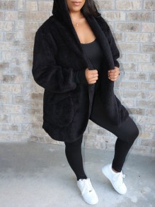 Black Pockets Hooded Long Sleeve Faux Fur Fluffy Jacket Thick Coat Outerwear