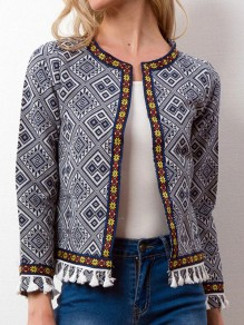 Blue Tassel Tribal Floral Print Round Neck Long Sleeve Outerwear