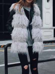 Grey Pockets Faux Fur Bubble Cardigan Vest Coat