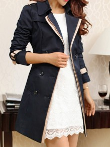 Black Patchwork Lace Skirted Peacoat Long Sleeve Fashion Outerwears