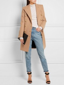 Camel Patchwork Buttons Pockets Skirted Peacoat Turndown Collar Fashion Outerwear