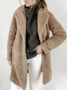 Coffee Pockets Turndown Collar Long Sleeve Fashion Teddy Coat
