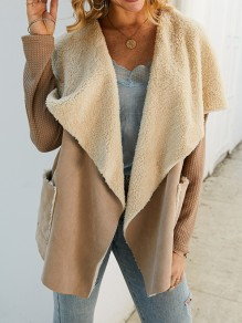 Khaki Faux Fur Pockets Irregular Turndown Collar Long Sleeve Coat