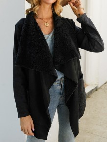 Black Faux Fur Pockets Irregular Turndown Collar Long Sleeve Coat