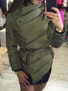 Army Green Sashe Band Collar Long Sleeve Fashion Padded Coat