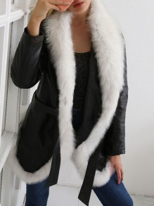 Black Belt Fur PU Leather V-neck Long Sleeve Coat