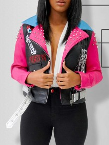 Pink Rivet And Pattern Print Belt Turndown Collar Long Sleeve PU Leather Hippy Jacket
