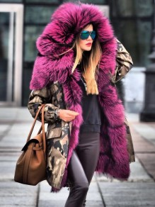 Grey Camouflage Print Hooded Faux Fur Long Sleeve Thick Warm Parka Coat