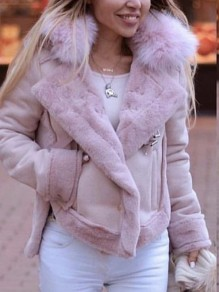 Pink Pockets Fur Collar Long Sleeve Oversize Fashion Motorcycle Suede Jacket Coat