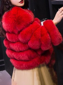 Red Faux Fur Round Neck Long Sleeve Elegant Coat Outerwear