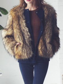 Brown Faux Fur Pocket Round Neck Long Sleeve Outerwear