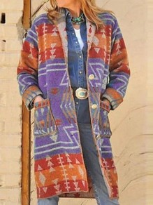 Purple Aztec Print Pockets Buttons Turndown Collar Long Sleeve Aztec Long Coat