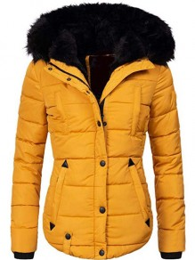 Yellow Pockets Single Breasted Faux Fur Hooded Long Sleeve Padded Coat