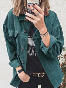 Green Patchwork Buttons Pockets Turndown Collar Long Sleeve Fashion Outerwear