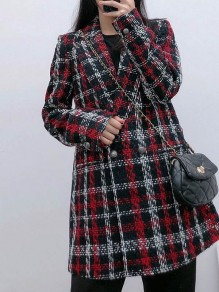 Red Plaid Buttons Turndown Collar Long Sleeve Fashion Outerwear