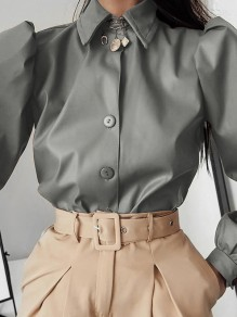Grey Patchwork PU Leather Buttons Turndown Collar Long Sleeve Fashion Outerwear