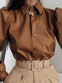 Brown Patchwork PU Leather Buttons Turndown Collar Long Sleeve Fashion Outerwear