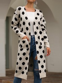 White Polka Dot Pockets V-neck Long Sleeve Fashion Cardigan Sweater