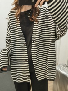 Black White Striped Buttons V-neck Long Sleeve Oversize Cardigan Sweater
