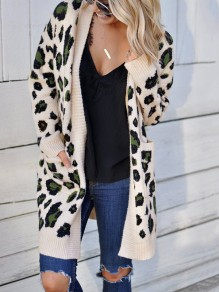 Apricot Leopard Pockets Others Long Sleeve Fashion Cardigan Sweater
