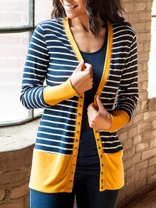Yellow Striped Single Breasted V-neck Long Sleeve Fashion Cardigan Sweater