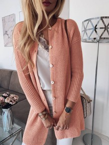 Pink Single Breasted Bodycon Comfy Long Sleeve Going out Sweater