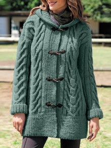 Green Patchwork Buttons Oversize Hooded Long Sleeve Fashion Cardigan Sweater