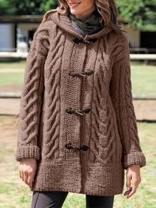 Coffee Patchwork Buttons Oversize Hooded Long Sleeve Fashion Cardigan Sweater
