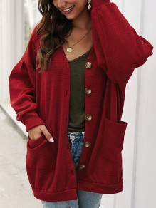 Red Pockets Buttons V-neck Long Sleeve Oversize Cardigan Sweater