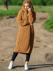 Brown Hooded Long Sleeve Oversize Fashion Cardigan Sweater