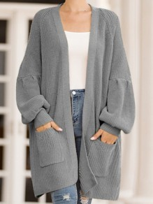 Grey Pockets Oversize V-neck Lantern Sleeve Casual Cardigan Sweater